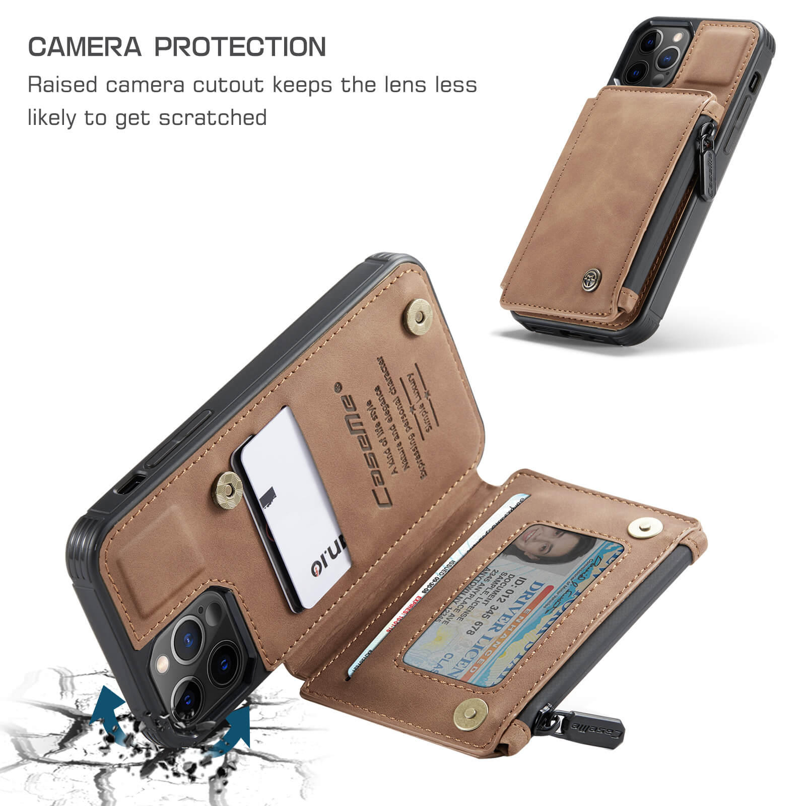 iphone protective leather case with RFID card holder wallet case- product display-camera protected-popmoca