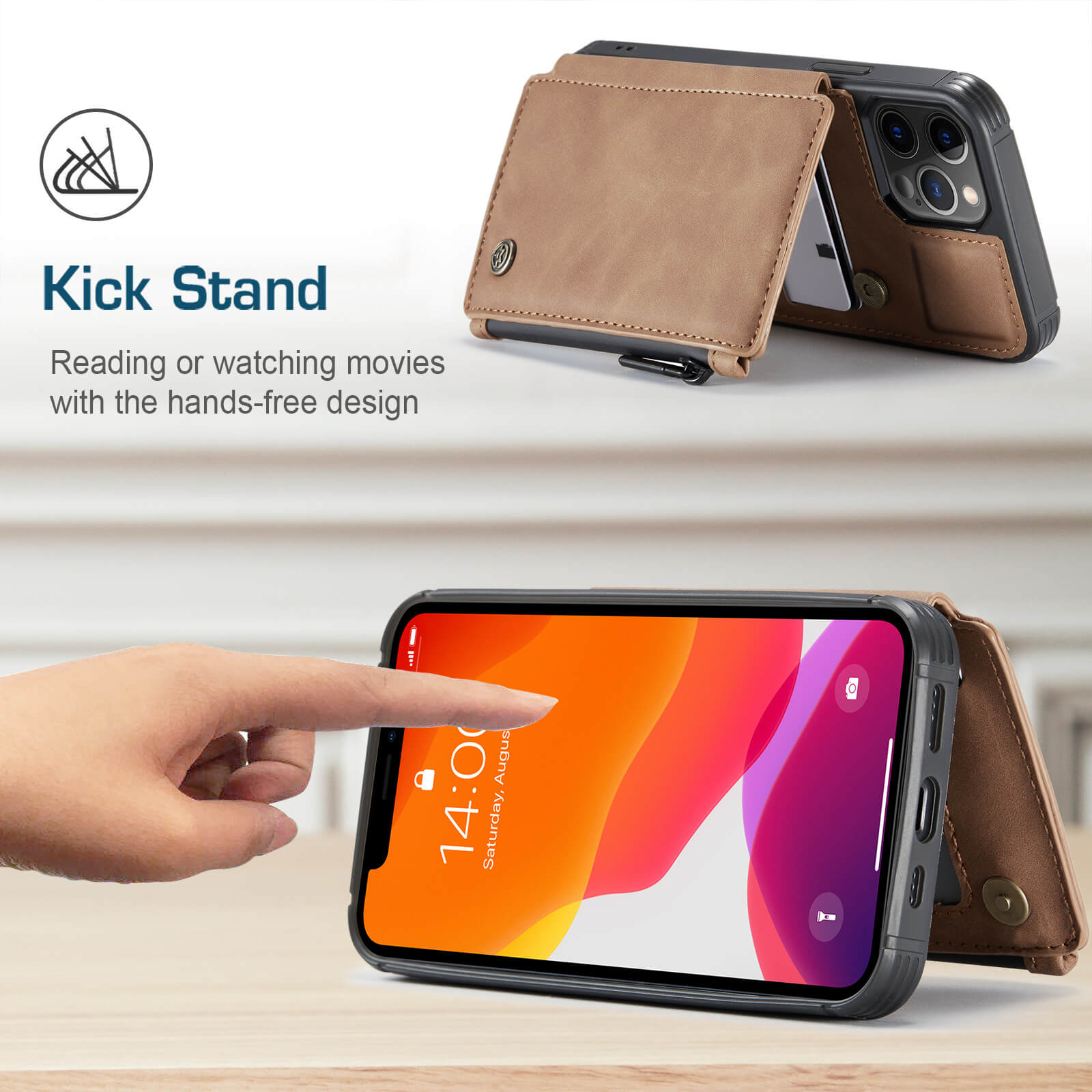 iphone protective leather case with RFID card holder wallet case- product display-kick stand-popmoca