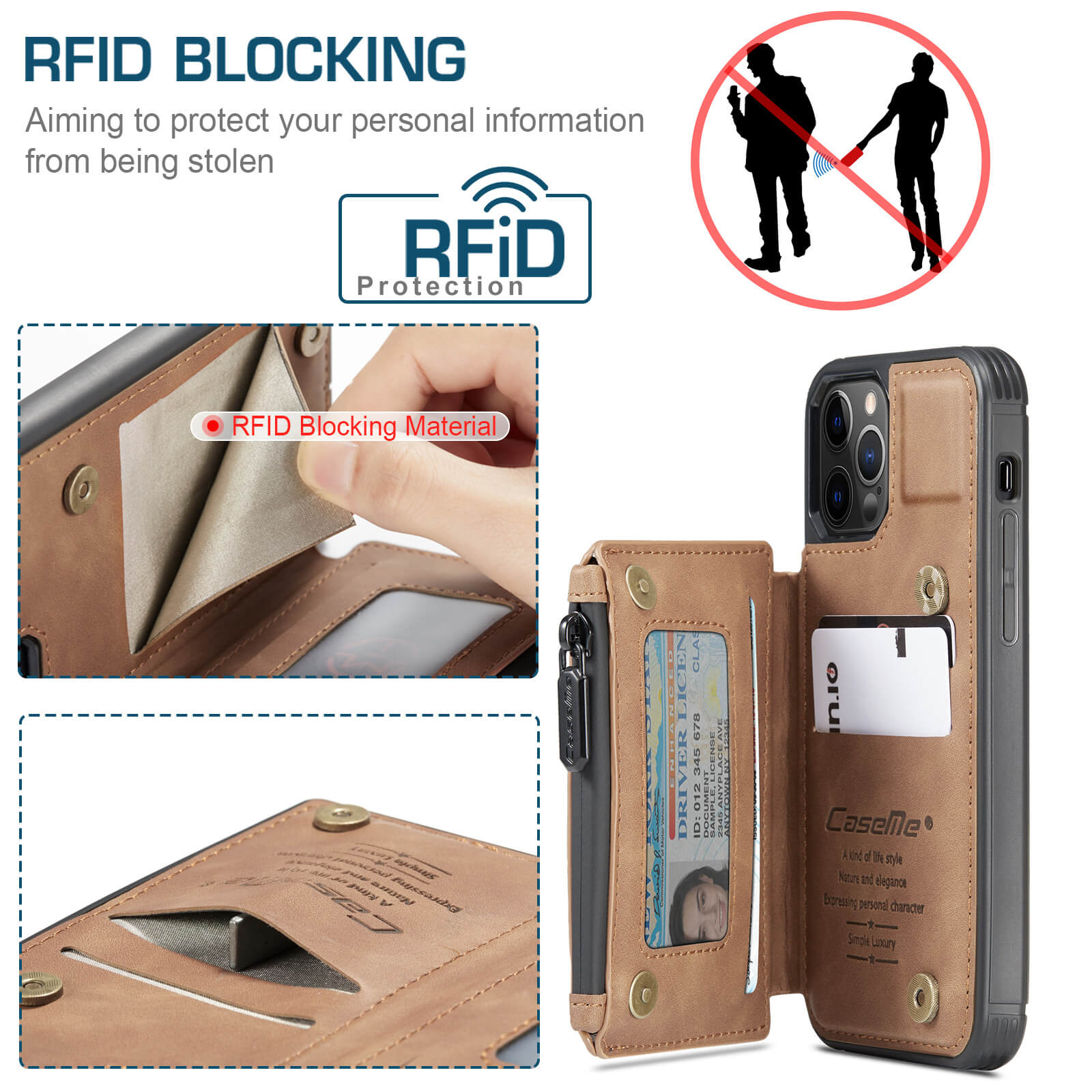 iphone protective leather case with RFID card holder wallet case- product display-rfid-popmoca