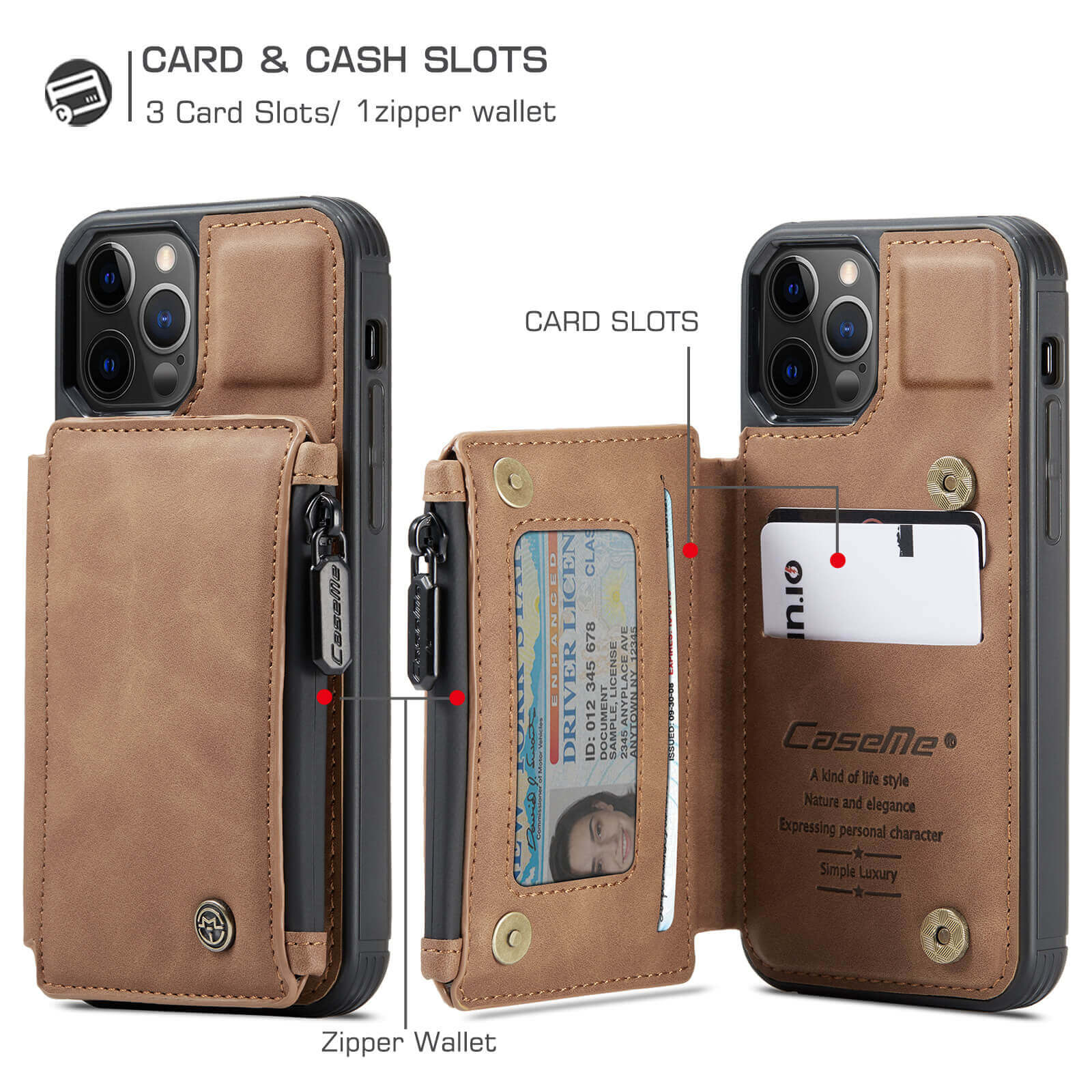 iphone protective leather case with RFID card holder wallet case- product display-card slot-coin purse-popmoca