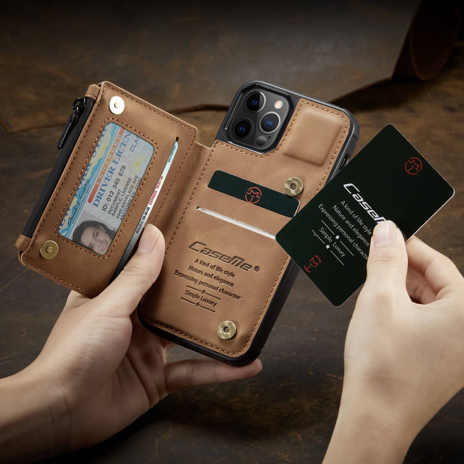 iphone protective leather case with RFID card holder wallet case- product display- popmoca