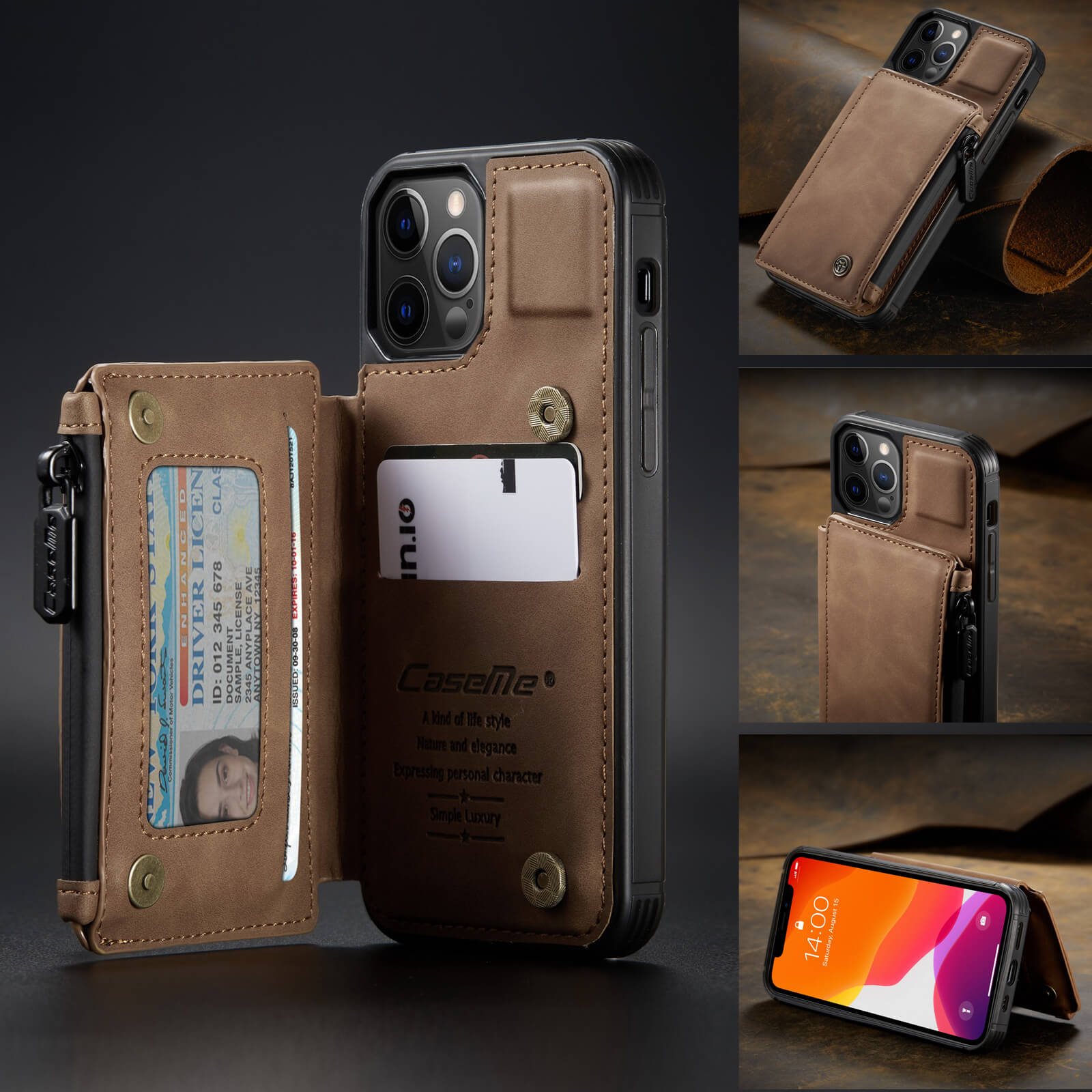 iphone protective leather case with RFID card holder wallet case- product display