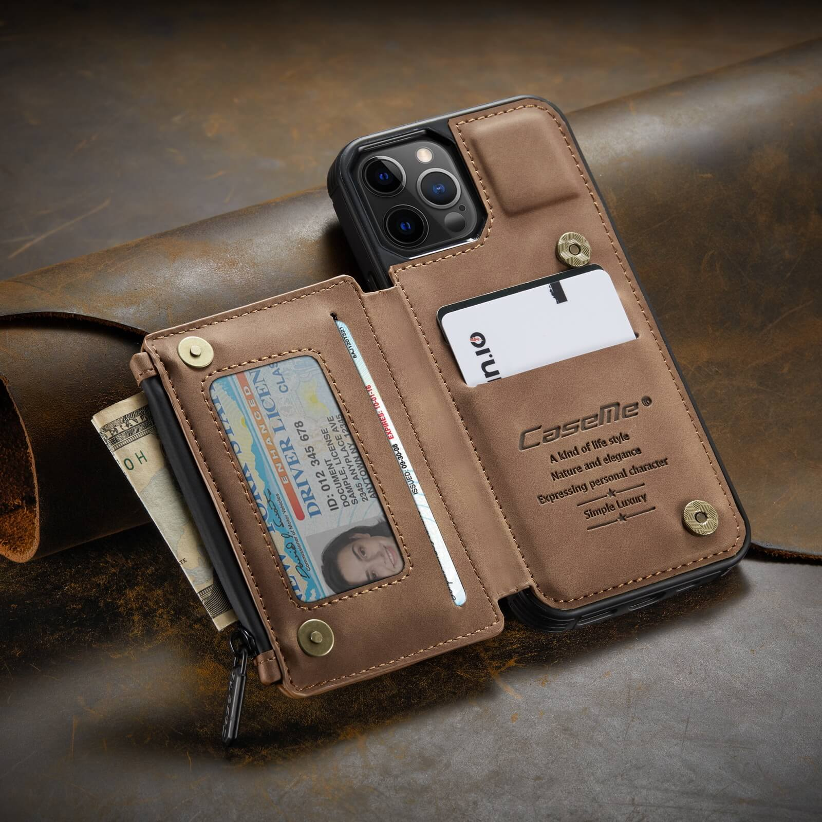iphone protective leather case with RFID card holder wallet case- product display-popmoca