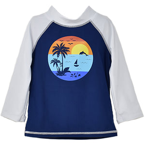 (NEW) UPF 50+ Graphic Rash Guard Swim Top (Recycled)