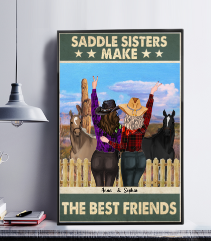 Personalized Cowgirls Poster -  Saddle Sisters Make The Best Friends