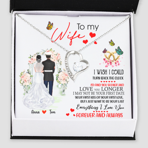 Personalised Forever Love Necklace - To My Wife I Wish I Could - Wedding