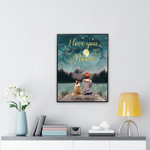 Girl And Dogs - Love You To The Moon And Back- Personalized Canvas