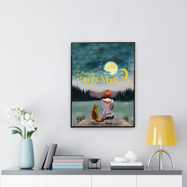 I love you to the moon and back - Customised girl and cat Canvas