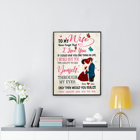 Personalized Kissing Couple Canvas - To My Wife Never Forget That I Love You