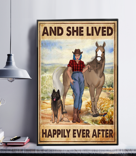 Personalized Cowgirl Custom Poster - And She Lived Happily Ever After