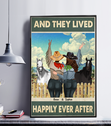 Personalized Cowgirls Poster - And They Lived Happily Ever After