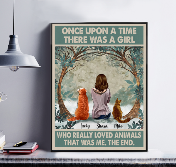 Once Upon A Time There Was A Girl Who Really Loved Animals Personalized Matte Canvas