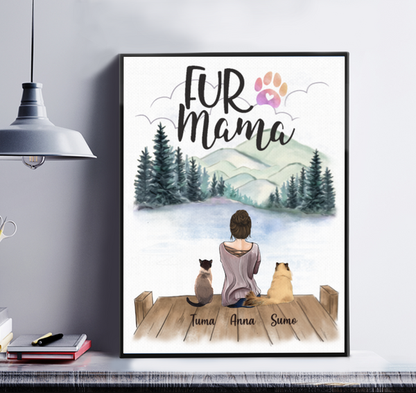 Fur Mama - Girl And Cats Personalized Canvas