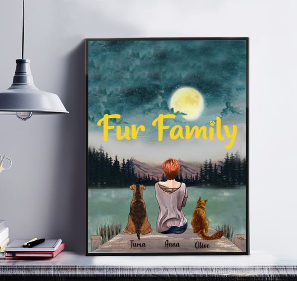 Fur Family - Personalised Girl And Cat And Dog Canvas