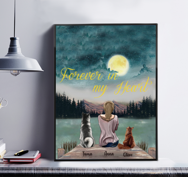 Forever in my heart - Personalised Girl And Cat And Dog Canvas