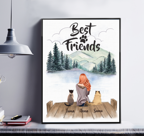 Best Friends - Girl And Cats Personalized Canvas