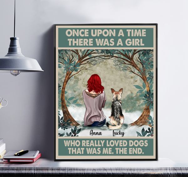 Once Upon A Time There Was A Girl Who Really Loved Dogs Personalized Matte Canvas