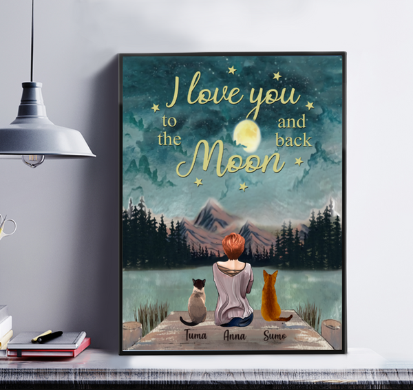 Girl And Cats - Love You To The Moon And Back- Personalized Canvas