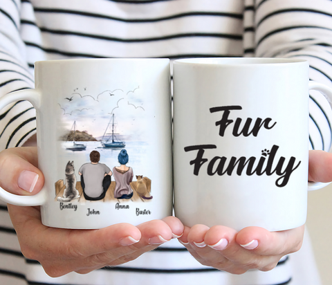 Couple And Cat And Dog- Fur Family- Customized Mug
