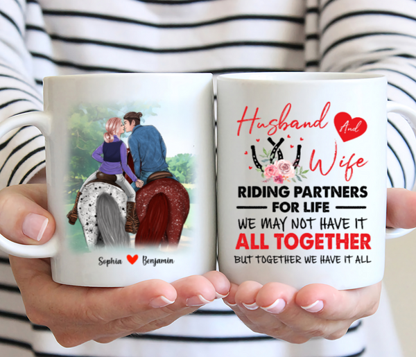Personalized Mug - Husband And Wife Riding Partners For Life