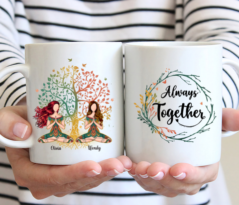 Personalized 2 Girl Yoga Mug - Always Together