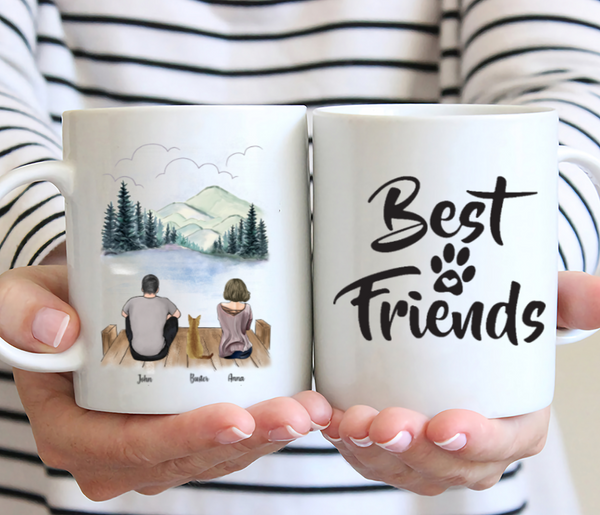 Couple And Cat- Best Friend- Customized Mug