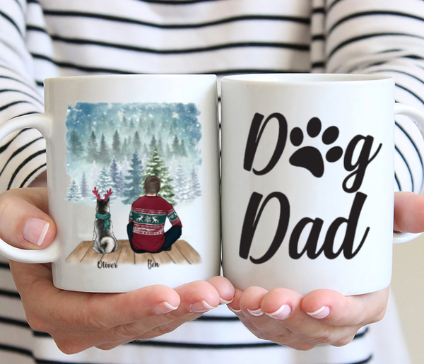 Man and Dog - Dog Dad - Customised Christmas Dog Mug