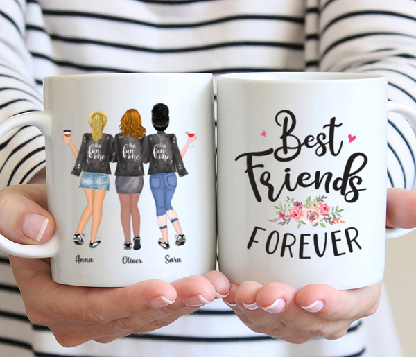 Personalized Three Best Friends Mug- Best Friends Forever