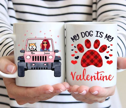 Girl And Dogs With Car Personalized Mug - My Dog Is My Valentine