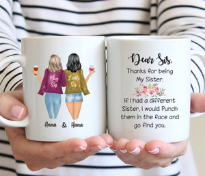 Personalized 2 Sisters Mug - Dear Sis, Thanks For Being My Sister
