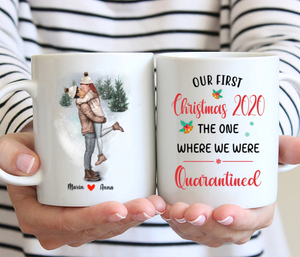 Kissing Couple Christmas - Our First Christmas 2020 The One Where We Were Quarantined - Personalized Christmas Mug