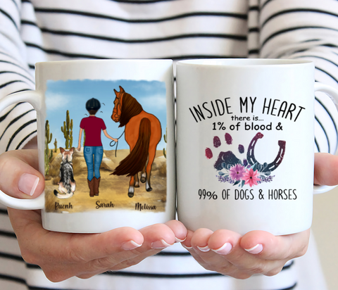 Customized Horse And Dog Personalized Mug - Inside My Heart There is... 1% Of Blood & 99% Of Dogs & Horse