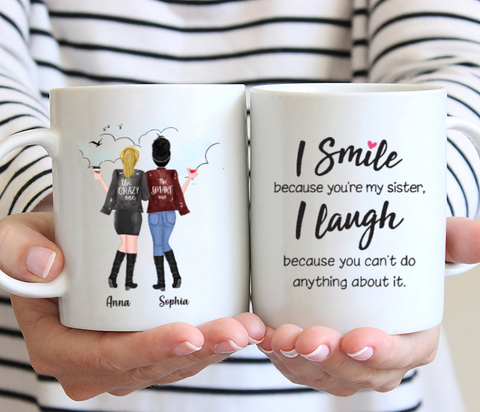 Personalized 2 Sisters Coffee Mug - I Smile Because You're My Sister