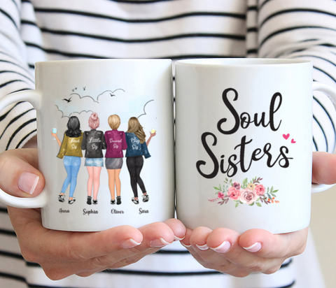 Personalized 4 Sisters Coffee Mug- Soul Sisters