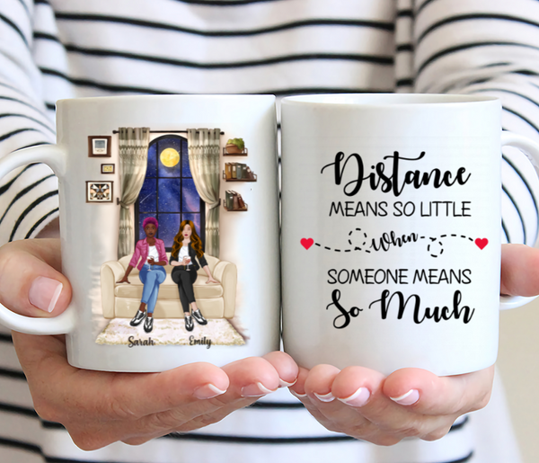 Personalized Sisters Mug - Distance Means So Little