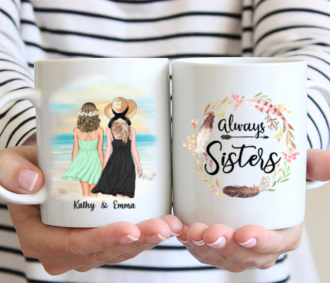 Beaches Girl - Always Sisters- Personalized Coffee Mug