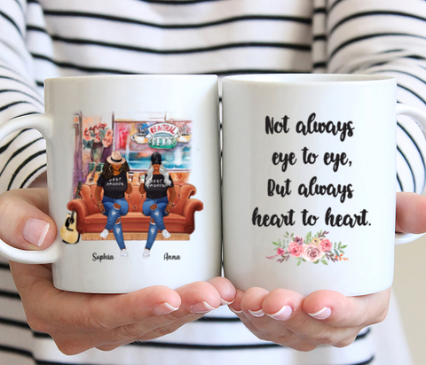 Curvy Friends - Not Always Eye To Eye, But Always Heart To Heart - Personalized Mug