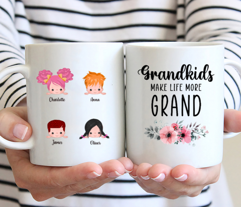 Up To 5 kids - Grandkids Make Life More Grand - Personalised Mug