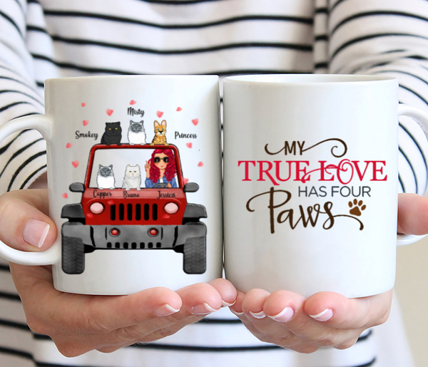 Personalized Cat Mug - My True Love Has Four Paws