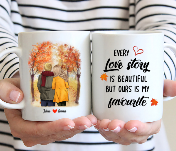 Personalised Coffee Mug - Every Love Story Is Beautiful But Ours Is My Favourite - Couple Walking