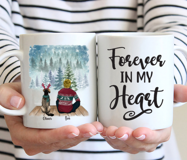 Man And Dogs - Forever In My Heart - Personalised Christmas Dog Mug