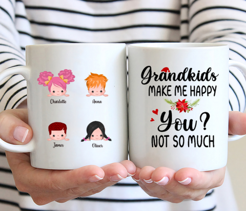 Up To 5 kids - Grandkids Make Me Happy - Personalised Mug