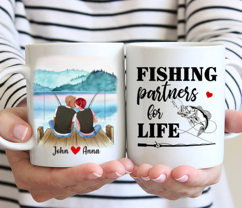 Couple Fishing Personalized Mug - Fishing Partners For Life.
