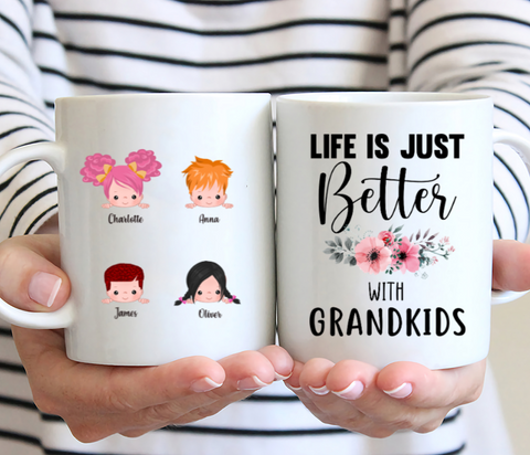 Up To 5 kids - Life Is Better With Grandkids - Personalised Mug