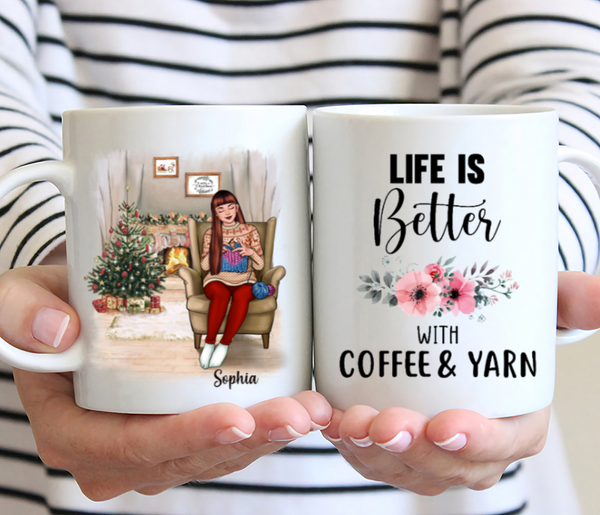Personalized Knitting Mug - Life Is Better With Coffee & Yarn