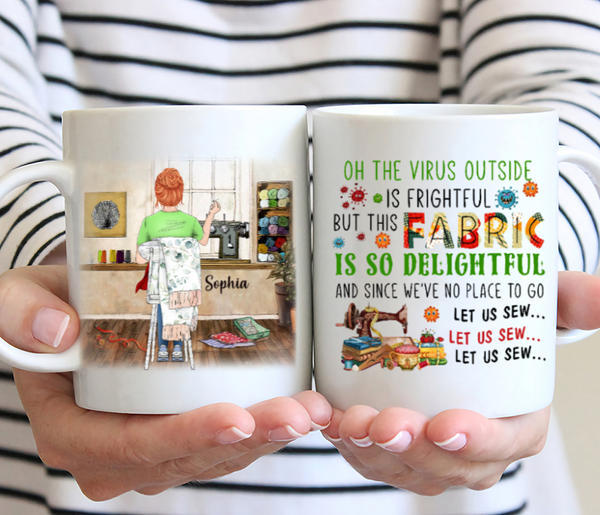Love Sewing Personalized Mug - Oh The Virut Outside