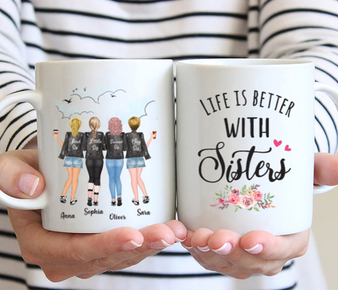 Personalized 4 Sisters Mug - Life Is Better With Sisters