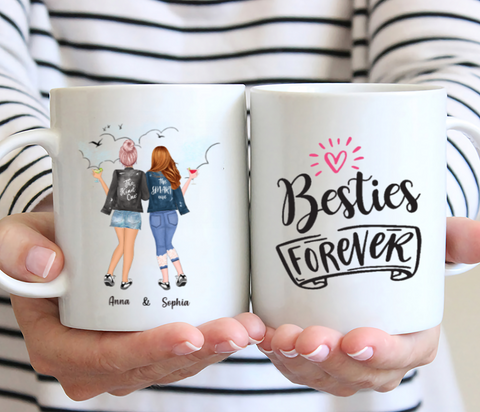 Personalized 2 Girls Best Friends Mug- Besties Forever