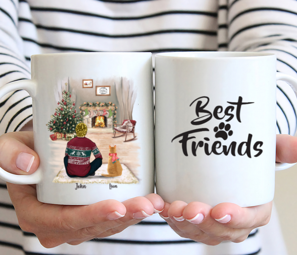 Man and Cats - Best Friends - Customised Christmas Cat Mug