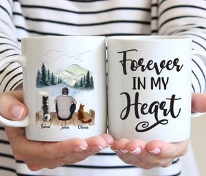Man And Cats And Dogs- Forever In My Heart- Personalized Mug